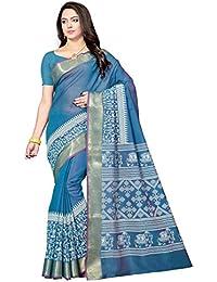 Rani Saahiba Women's Poly Cotton Saree With Blouse Piece (Skr3337_Blue)