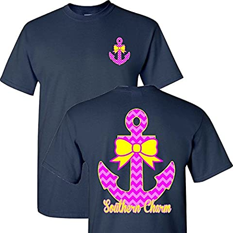 Southern Charm Anchor on Navy Short Sleeve T Shirt
