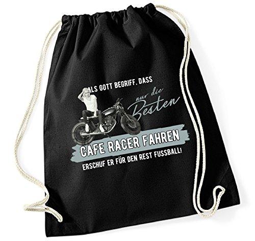 Turnbeutel - GOTT besten CAFE RACER fahren vintage Bike NO Fußball - Baumwoll Tasche Beutel Siviwonder schwarz (Sr Racer)