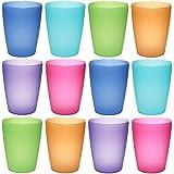 idea-station NEO tasses en plastique 250 ml réutilisable, 12 pièces, coloré, empilable, peut également être utilisé comme des verres d'eau, verres de cocktail, comme tasse de partie, tasse en plastique sont incassables, Farbe:12 St. / bunt