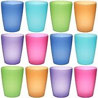 idea-station NEO vasos de plástico 250 ml reutilizable, 12 piezas, colorido, apilable, también se puede utilizar como vasos de agua, gafas de cóctel, como taza de fiesta, taza de plástico son irrompibles, Farbe:12 St. / bunt