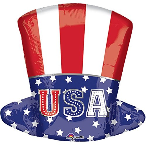 Preisvergleich Produktbild USA Hut Uncle Sam Folienballon Ø 50cm + PORTOFREI mgl + Geschenkkartenset + Helium & Ballongas geeignet. High Quality Premium Ballons vom Luftballonprofi & deutschen Heliumballon Experten. Tolles Luftballon Geschenk für Kinder & Erwachsene und tolle Ballondekoration