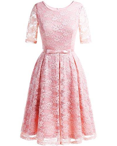 Bbonlinedress Robe Femme 1950s en Dentelle Manches Courtes Col Ronde Robe de Soirée Rockabily pink