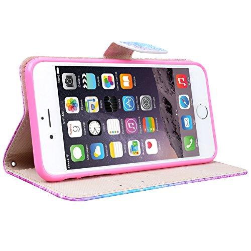 Yokata iPhone 6 Plus / iPhone 6s Plus Hülle Leder Flip Wallet Case Ledertasche mit Kartenfach Ständer Halter Standfunktion Magnet und Weich Silikon Handyhülle Handy Etui Schutzhülle Protective Cover f Regenbogen und Sand