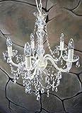 Livitat® Kronleuchter Lüster 52 cm Durchmesser 5 armig Weiß Kristall Leuchter LV3020