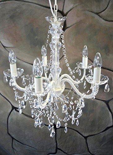 Livitat Kronleuchter Ø 52 cm Lüster Kristall Leuchter Weiß LV3020