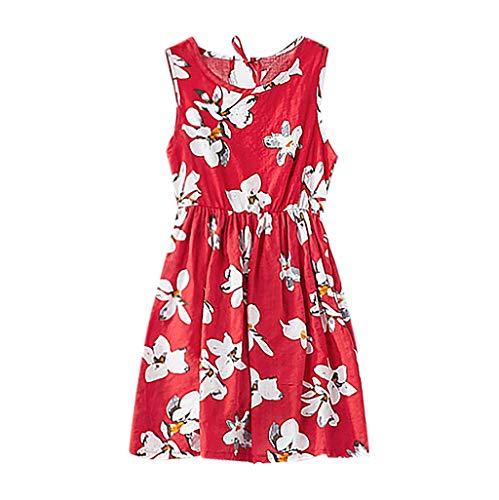 Livoral Kinder Kinder Mädchen ärmellose Blumenweste Kleid passende Familienkleidung(Rot(Baby),X-Large) (Kostüm Teen Fuchs)