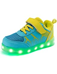DoGeek Zapatos Deportivos Para Niños Niñas 7 Color USB Carga LED Luz Glow Luminosos Light Up USB Velcro Flashing Sneakers