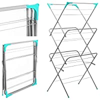3 TIER UPRIGHT FOLDING CONCERTINA CLOTHES HORSE AIRER DRYER LAUNDRY FREE STANDING 14M DRYING SPACE