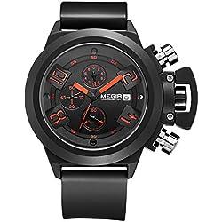 Megir Black Men Chronograph Silicon Sport Quartz Wrist Watches
