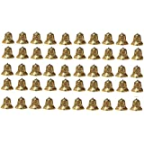 SPHINX Golden Colored Plastic Bells for Crafts/Decoration/Festive Decor (Check Sizes Carefully) - (A4R) - Pack of 50