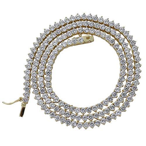 MKHDD Hip Hop Tennis Kette Halskette Schlüsselbein einreihig 3 mm Herren Zirkon Trendy Kupfer Metallschmuck,Gold,18inch (Gold Für Männer Seil-kette Rose)