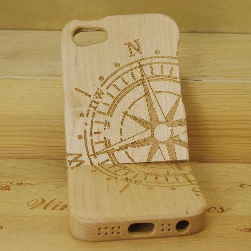 eimo Unique Handmade Natural Wood Hard Cover Case en bois pour iPhone 5 5S (érable pissenlit) érable boussole