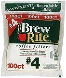 Brew Rite #4 Cone Coffee Filters, White ...