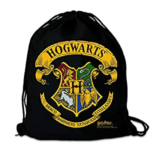 51sqayIAmOL. SS300  - Logoshirt - Harry Potter - Hogwarts - Logo - Mochila Saco - Bolsa - negro - Diseño original con licencia