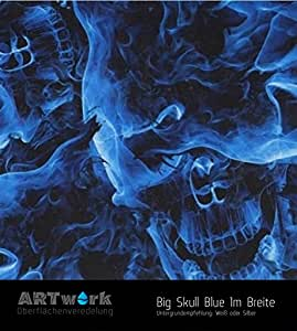wassertransferdruck exclusiv design folie artwork big skull blue 1m breite auto. Black Bedroom Furniture Sets. Home Design Ideas