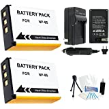2-Pack Fuji NP-85 High-Capacity Replacement Batteries With Rapid Travel Charger For FujiFilm FinePix S1 SL1000 SL305 SL300 SL280 SL260 SL240 Digital Cameras - UltraPro BONUS INCLUDED: Camera Cleaning Kit Camera Screen Protector Mini Travel Tripod