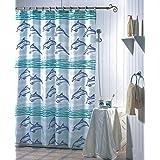 SIDCO ® Duschvorhang Badewannenvorhang Wannenvorhang 180 x 200 Delfine Polyester