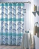 SIDCO Duschvorhang Badewannenvorhang Wannenvorhang 180 x 200 Delfine Polyester