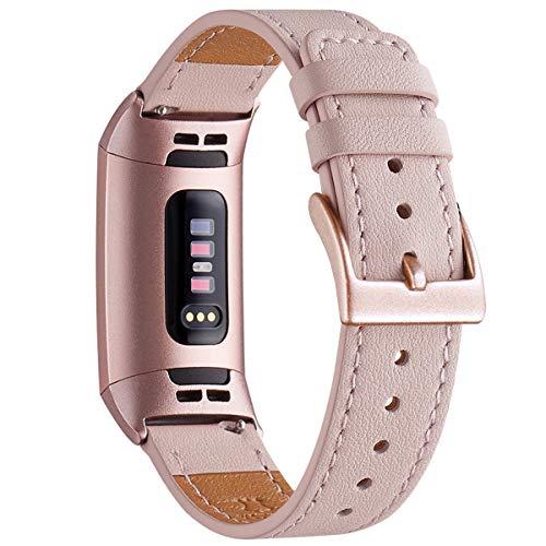 WFEAGL Armband Kompatibel für Fitbit Charge 3 Armband Leder, Klassisch Einstellbares Ersatzarmband Sport Accessories for Damen Männer Kompatibel für Fitbit Charge 3(Rosa Sand+Roségold Adapter)