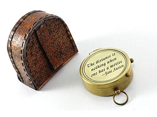 Roorkee Instruments (INDIA) La Distance n'est rien quand une A une Citation de Motive Laiton massif Boussole W/Housse en Cuir