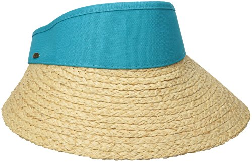 scala-womens-raffia-visor-dyed-cotton-crown-hat-lagoon-one-size