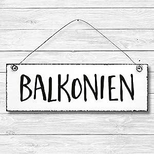 Balkonien – Balkon Dekoschild Türschild Wandschild aus Holz 10x30cm – Holzdeko Holzbild Deko Schild