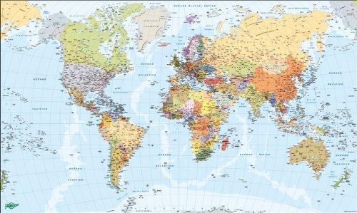 Faibo 203738 - Mapa del Mundo, metálico, 84 x 140 cm