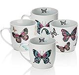 Sabichi Mariposa 4pc Mug Set, Porcelain, Multi-Colour, 19.8 x 19 x 10.3 cm