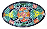 Servierplatte, Vorspeisenplatte, Tapas-Platte, oval, 37 x 23 cm, Talavera, handbemalt - verde agua