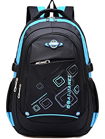 Kinder Junge und Mädchen Schulrucksack Schultasche Nylon Schulranzen Sportrucksack Backpack (Blau)