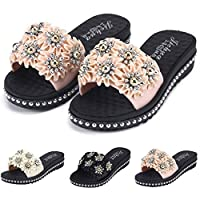 VBWER Women Fashion Flowers Beach Slippers Comfortable Massage Non-Slip Casual Sandals