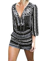 0d592c4aa97 LAEMILIA Combinaisons Femme Manche Longue Col en V Sexy Clubwear Party  Cocktail Bureau Playsuit Jumpsuit T