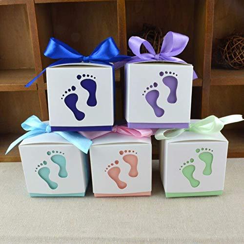 50 teile/los Baby Fuß Pralinenschachtel Baby-dusche Süße Tasche Fußabdrücke Am Strand Bevorzugung Boxen Taufe Süßigkeiten Container - Baby-dusche-bevorzugung Süßigkeiten