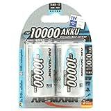ANSMANN Piles Réchargeables D Mono (LR20/HR20) NiMH Professional Type 10000 (min. 9300mAh) Power Accu - Pack de 2