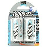 ANSMANN Mono D Akku Typ 10000  hochkapazitive Profi NiMH Monozelle für Digital Foto Akkubatterie 2er Pack
