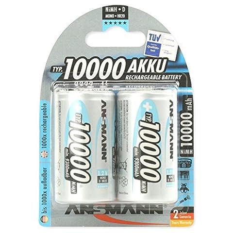 ANSMANN wiederaufladbar Akku Batterie Mono D Typ 10000mAh NiMH hochkapazitiv