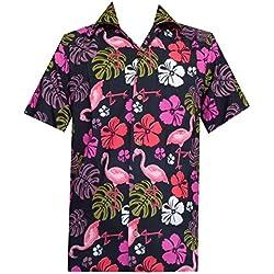 Alvish Camisa Hawaiana 37 para Hombre, Estampado de Hojas de Flamenco, Playa, Aloha Party Casual para Hombre - Negro - Large