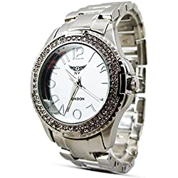 Branded Fashion Unique Mens Womens Unisex Wrist Watch at Discounted Sale Price - Rose Gold Strap Crystal Analog Dial Face Quartz