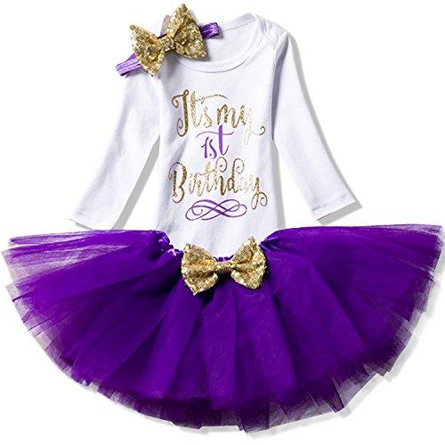 NNJXD Mädchen Neugeborene Es ist mein 1. Geburtstag 3 Stück Outfits Strampler + Rock + Stirnband Größe (1) 1 Jahre Lila 1 (Bequeme Baumwoll-strampler)