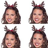 4 Haarreifen Set * Elch Geweih * als Verkleidung für Weihnachten und Mottoparty // Tolle Verkleidung für Eine lustige Motto-Party // Weihnachten Glitzer Kostüm Accessoire Tiara Reif Hirsch Haarreif