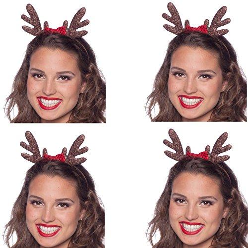 4 Haarreifen Set * ELCH GEWEIH * als Verkleidung für Weihnachten und Mottoparty // tolle Verkleidung für eine lustige Motto-Party // Weihnachten Glitzer Kostüm Accessoire Tiara Reif Hirsch (Elch Geweih Kostüm)