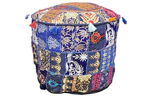 rajwada-fashion Indischer Vintage blau Patchwork Ottoman Pouf Wohnzimmerbezug Hocker Stauraum Überzug Rund Ottoman Poof Baumwolle Kissen Ottoman -