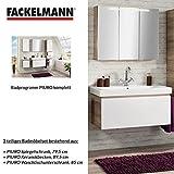 FACKELMANN Badmöbel Set Piuro 3-tlg. 85 cm weiß Eiche mit Waschtisch Unterschrank & Keramikbecken & Spiegelschrank