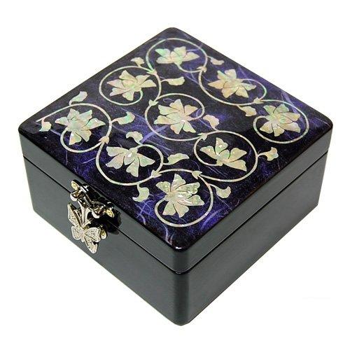 Fait main boîte à bijoux en bois, mère de perle cadeau oriental, fleurs