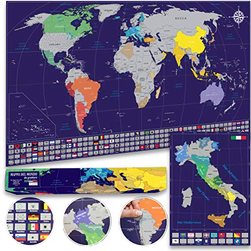 Cartlab poster mappa del mondo + mappa Italia da grattare con bandiere - le più aggiornate e dettagliate - scatola regalo inclusa - idea regalo - Blu/Argento