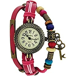 Medley Beige Dial Two Tone Pink Leather & Cord Beads Watch Pull Closure MED07