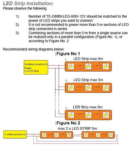 0W - 60W Dimmbar LED Treiber Konstant Voltzahl 12VDC, elektronischer LED-Trafo, Dimmable LED Driver, model TE60W, for 12Vdc LED tapes / strips and LED lamps - 4