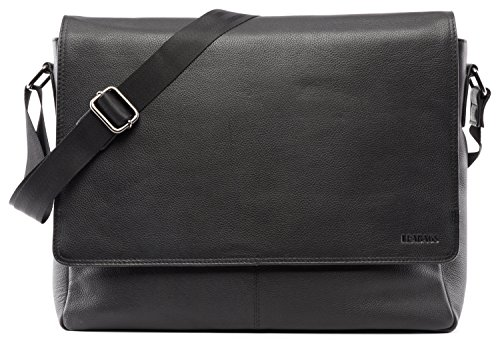 ngetasche Leder Laptoptasche 15 Zoll aus echtem Büffel-Leder im Vintage Look, (LxBxH): ca. 38x10x31 cm - OnyxBlack ()