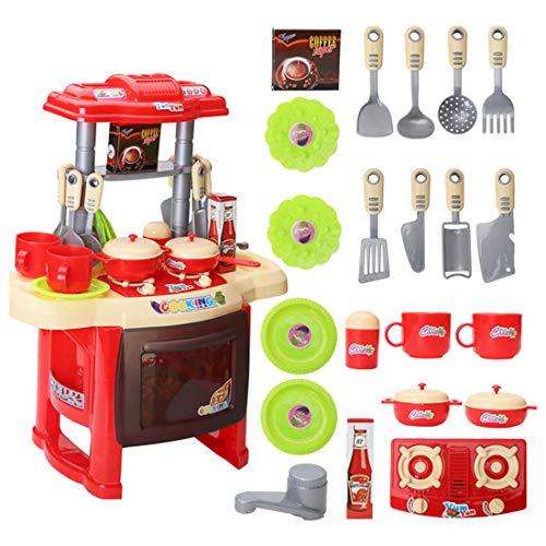 Dittzz 23 Pièces Jouet de Cuisine Ustensiles de Cuisine avec des Fonctions de lumières et Sons - Jeu de Rôles pour Enfant Garçons et Filles